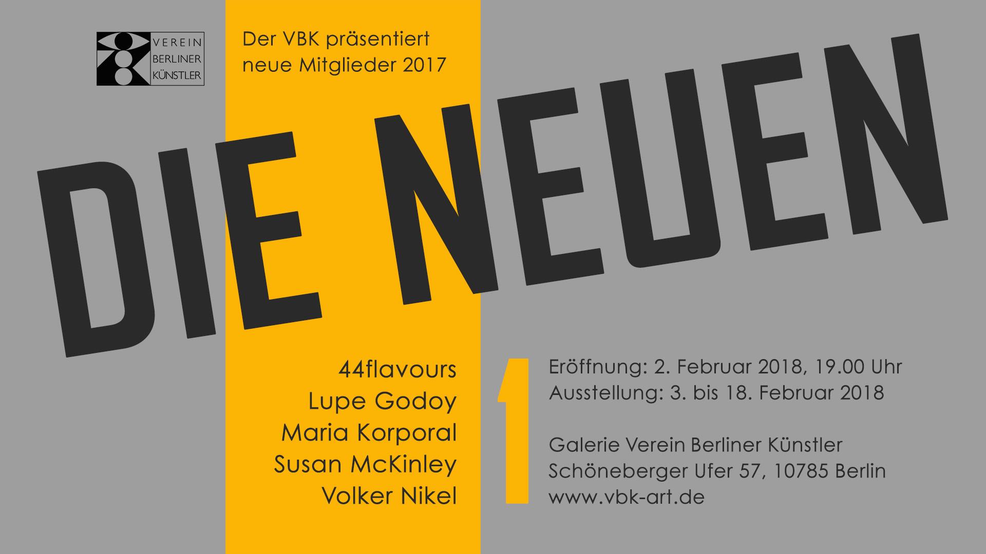 Tentoonstelling DIE NEUEN in galerie VBK, Berlijn